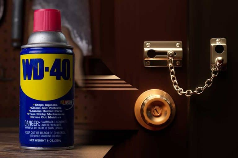 A collage of a WD-40 lubricant and a door lock, Should You Spray WD-40 In A Lock?