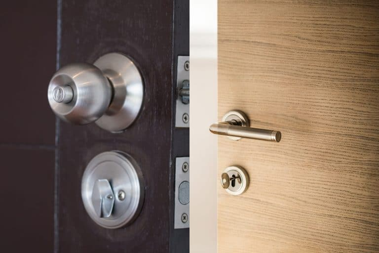 A collaged photo of a stainless steel door knob and a door handle, Door Handle Vs Knob - Which To Choose?