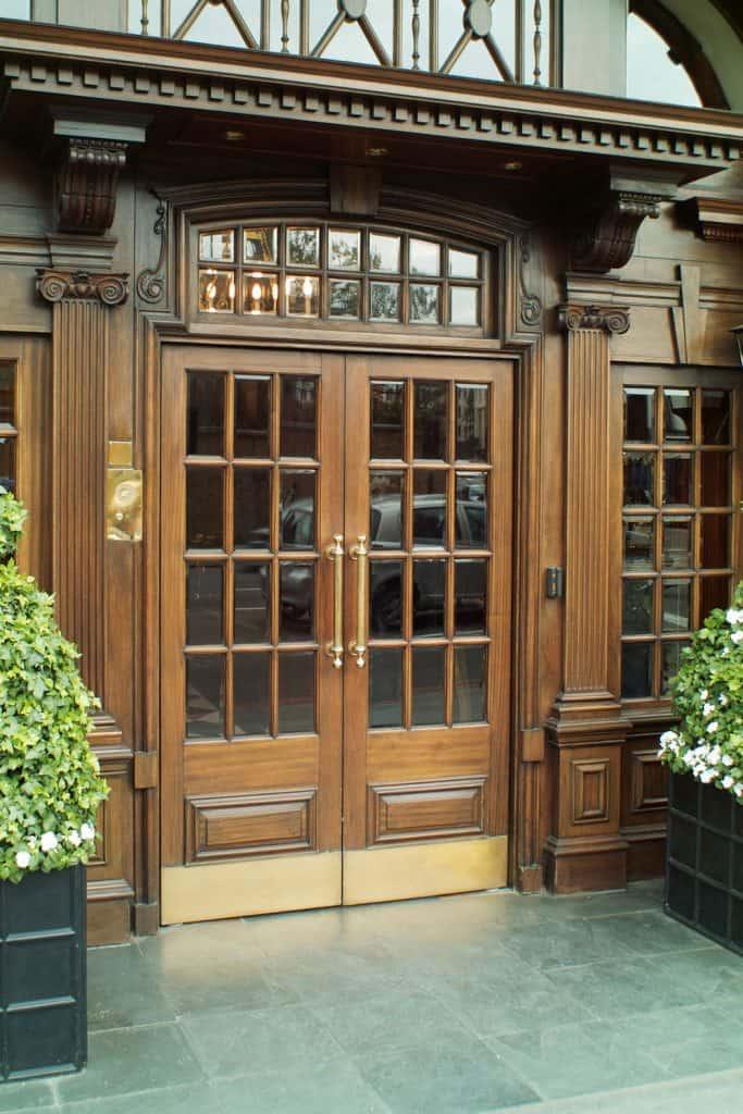 A gorgeous rustic inspired fiberglass front door