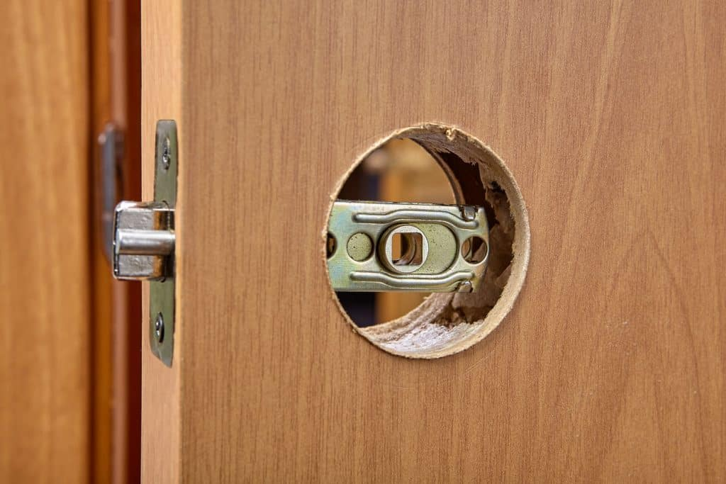 A hole for a door knob installation