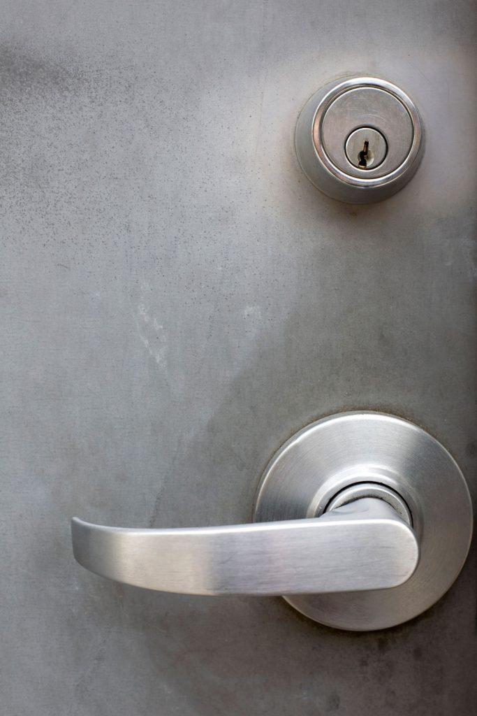 A stainless steel deadbolt lock of a front door
