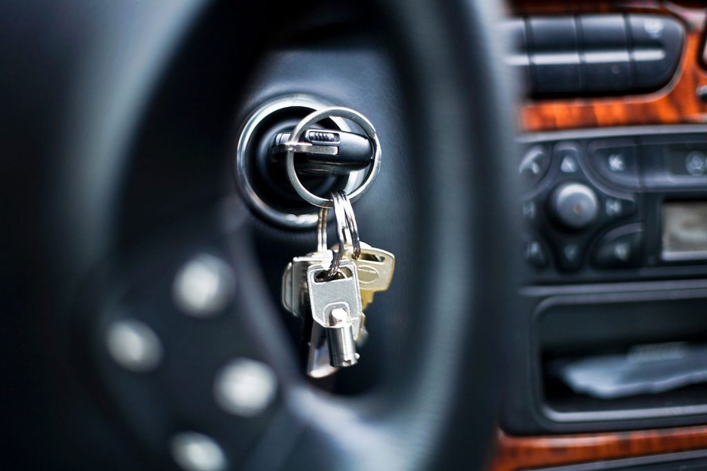 An up close photo of a car key