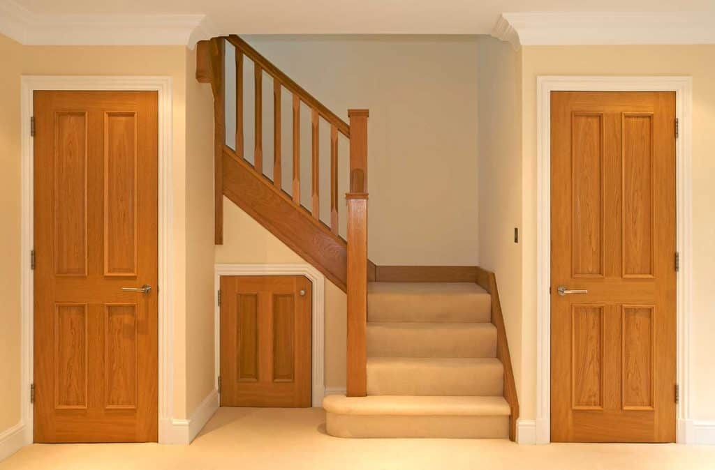 A beautifully designed and finished oak staircase and doors in a luxury new home
