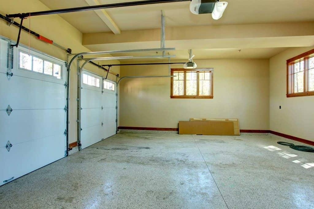 Empty garage with roller door