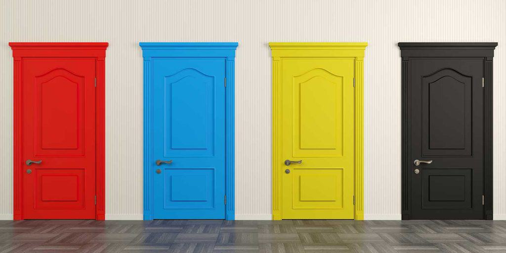 Four colorful doors on the wall