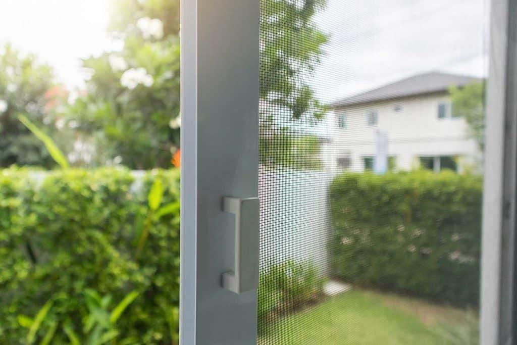 Mosquito net wire screen on house door