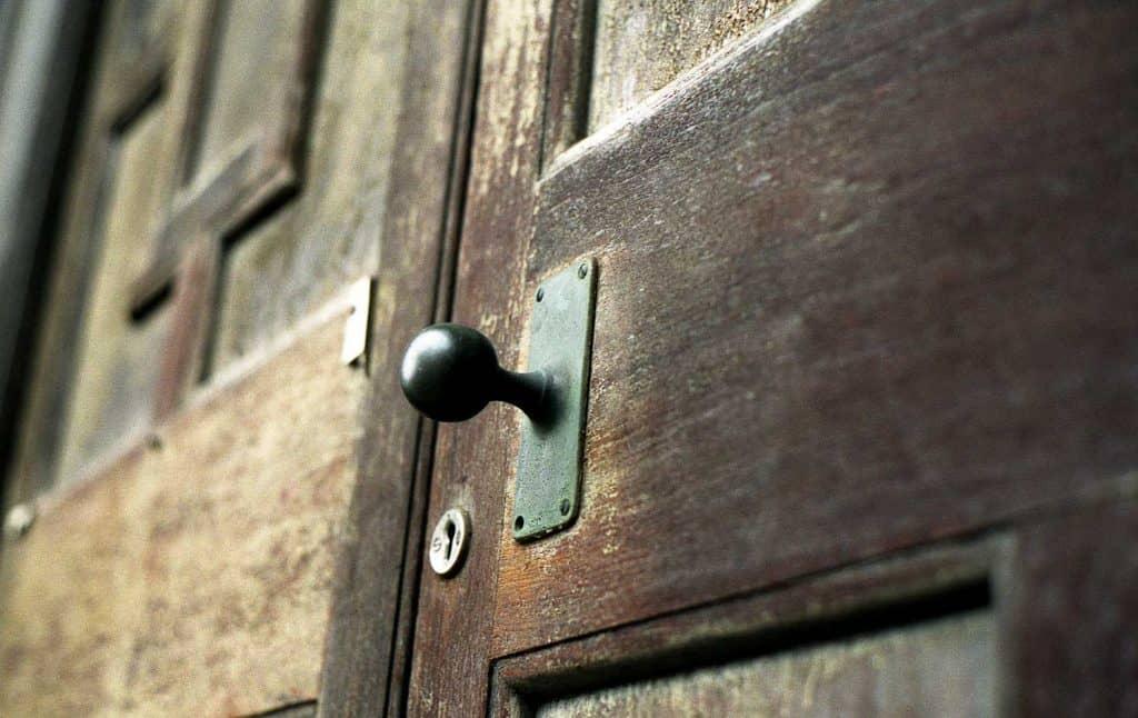 Wooden door and handle