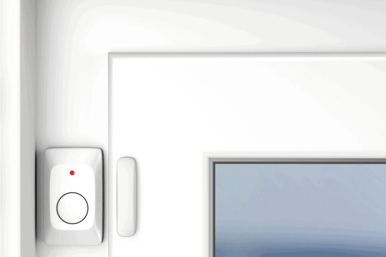 magnetic alarm sensor attached on a closed door. How To Turn Off Poolguard Door Alarm