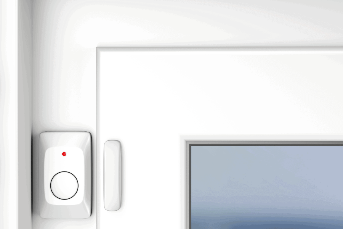 magnetic alarm sensor attached on a closed door