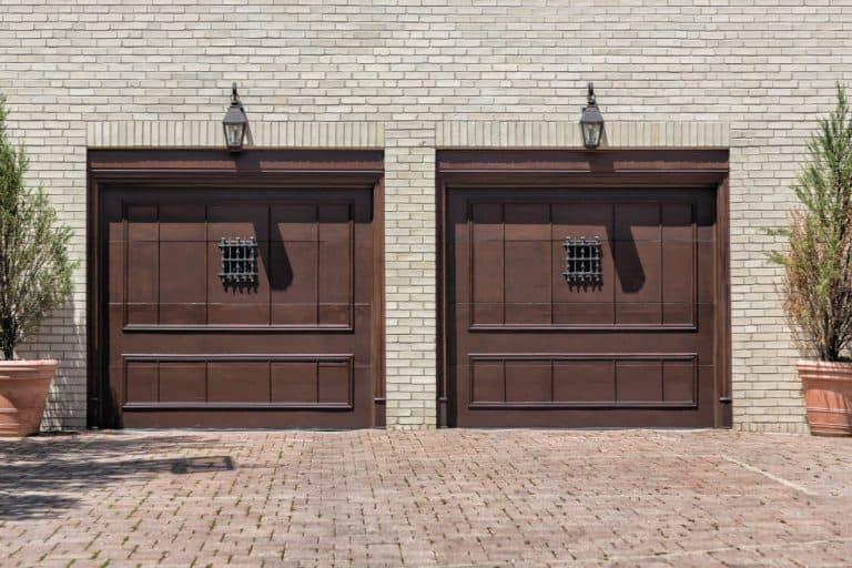 two car garage door, steel garage door painted in brown. Are Garage Doors Magnetic