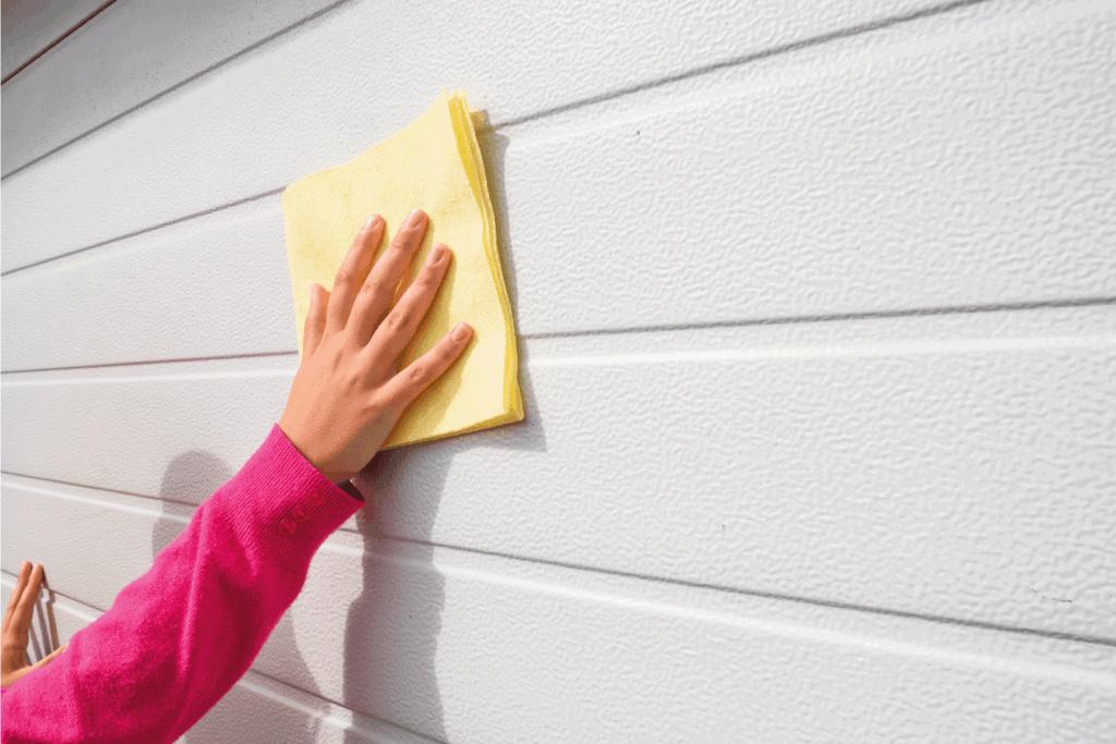 young woman or girl cleaning fiberglass garage door