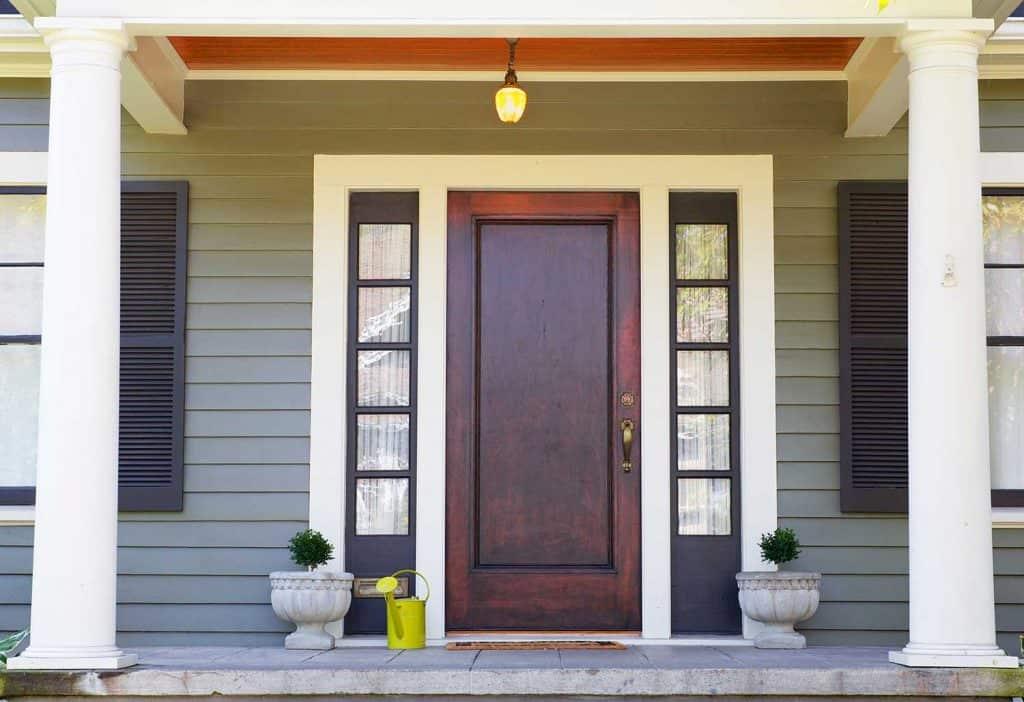 Brown stained front door