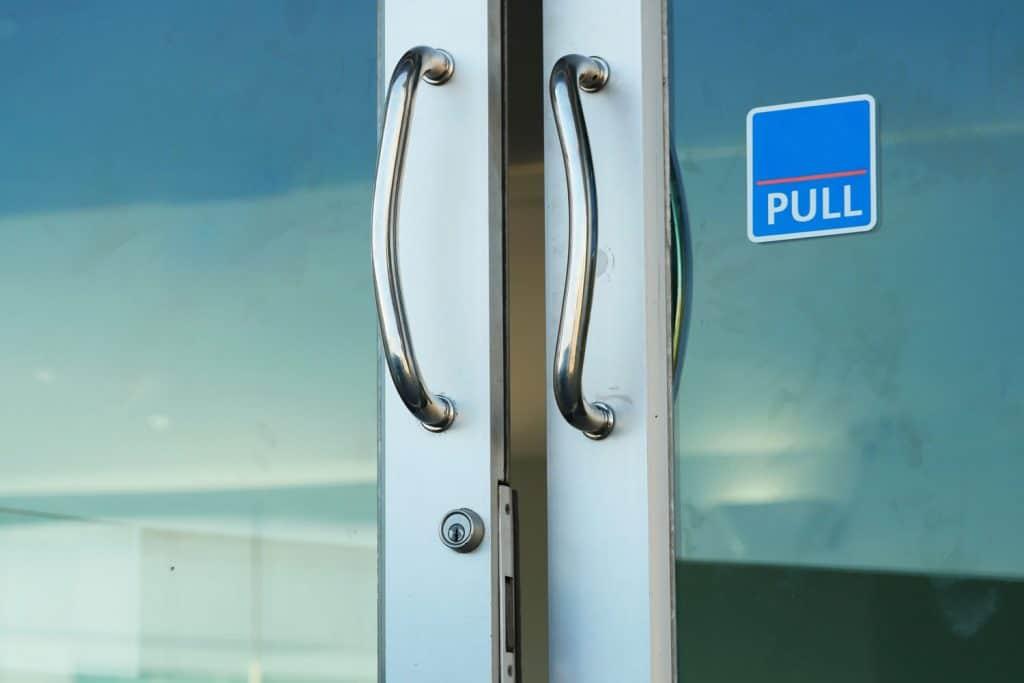 Doors handle in the office door entrance