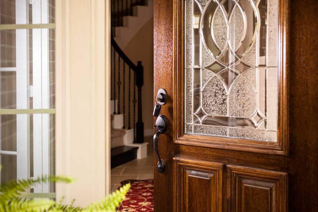 Open front door of upscale modern home