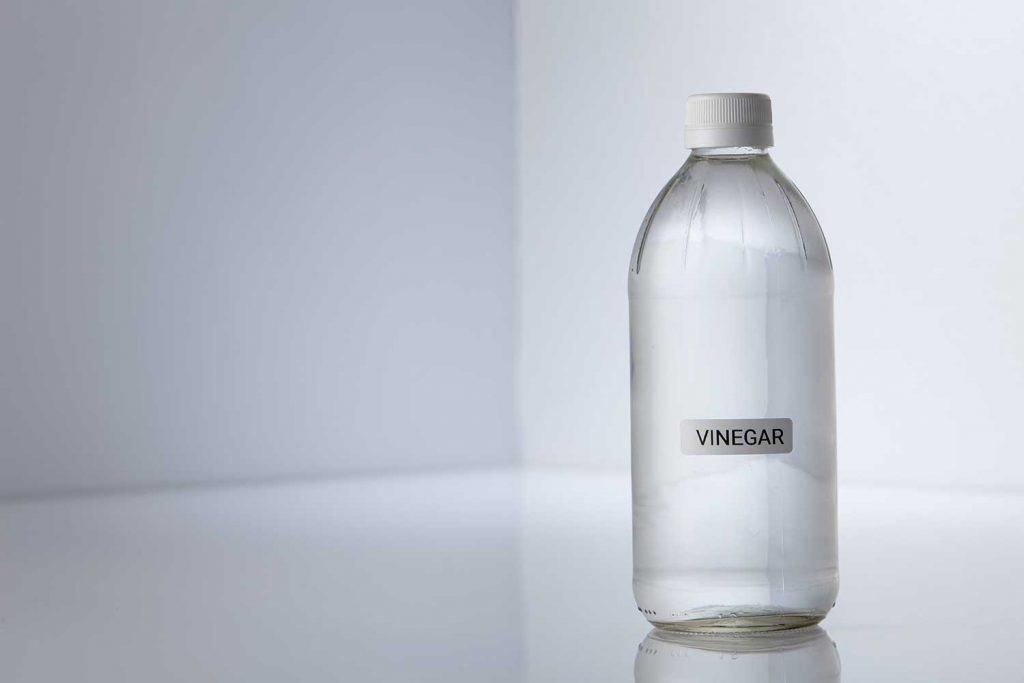 Bottle of white vinegar on gray white background