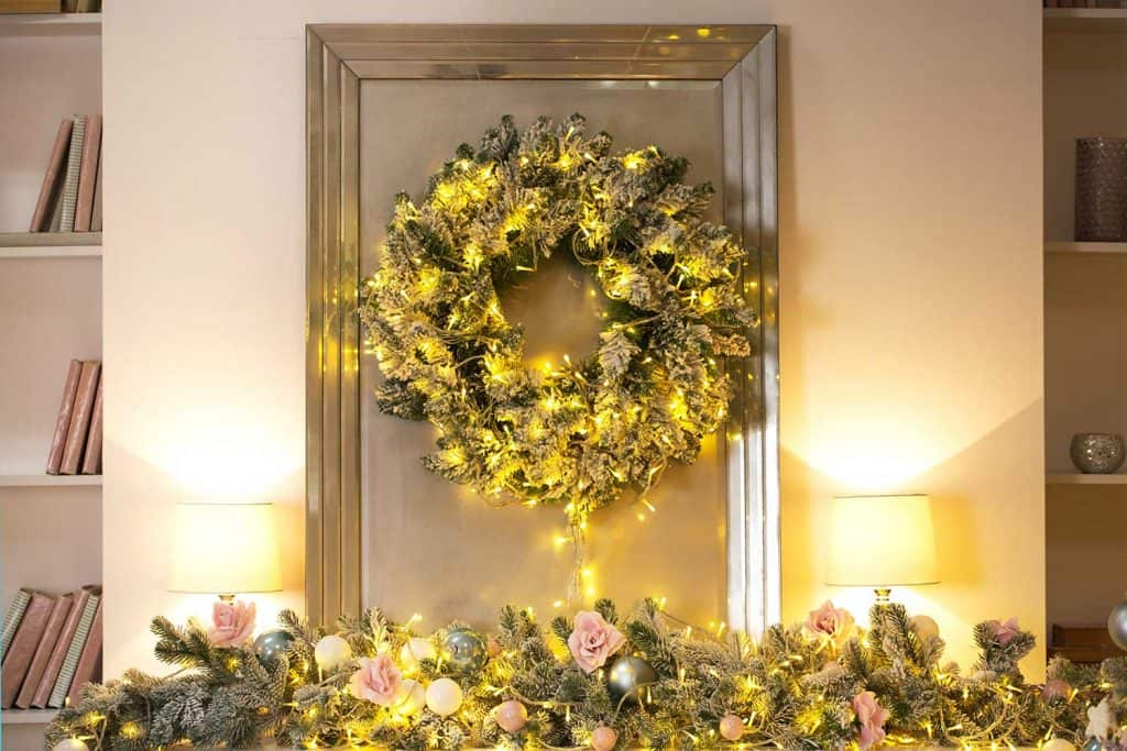 Christmas wreath on door at home