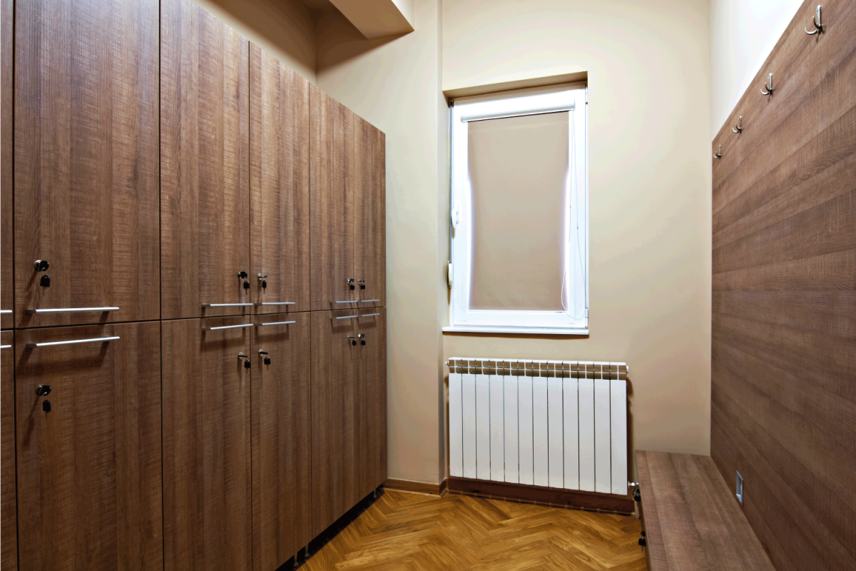 Closets in the dressing room. oak looking pine cabinet doors