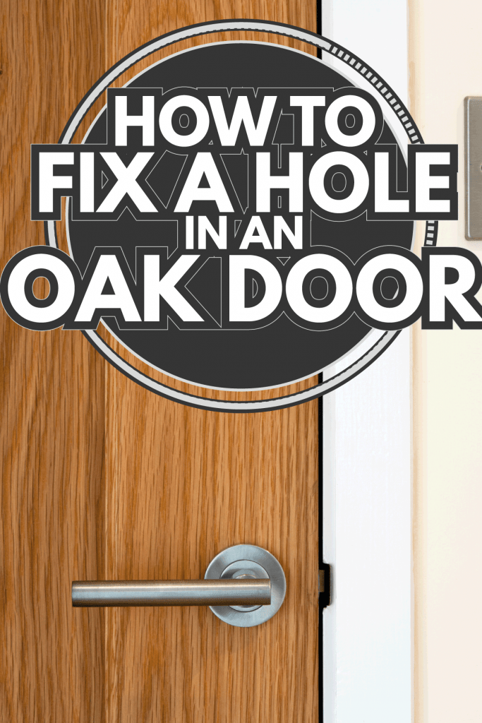 Contemporary door handle on a closed solid wood interior door, light switch nearby. How To Fix A Hole In An Oak Door