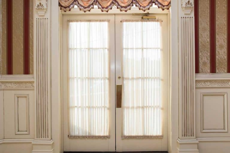 Home interior French door with curtain, How To Hang Door Panel Curtains