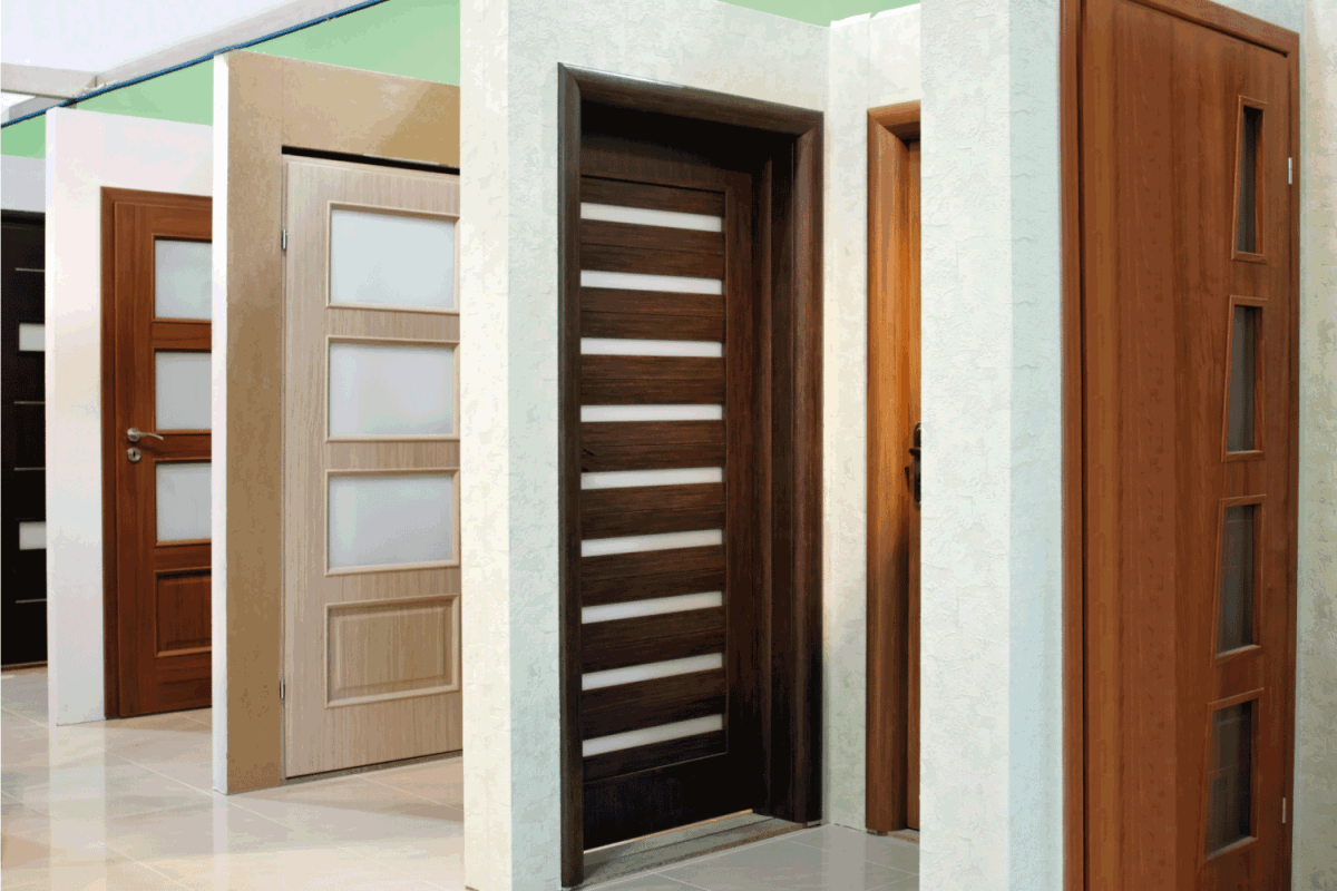 pine and oak doors for sale on a hardware store