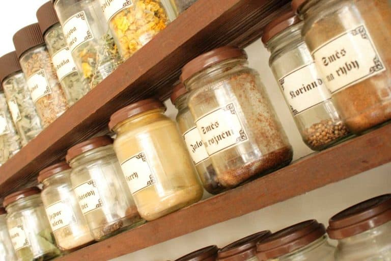 Spice rack with different spices, How To Build A Spice Rack On A Pantry Door